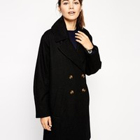 ASOS Double Breasted Coat With Split Hem at asos.com