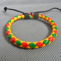 bangle leather bracelet woven bracelet girls bracelet women bracelet made of leather woven wrist bracelet SH-0694
