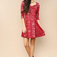 Pleated Three Quarter Sleeve Dress