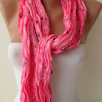ON SALE - Pink and Silky Scarf - Embroidered Fabric