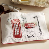 London Embroidered Pouch