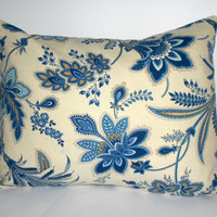Blue Floral Pillow Cover Home Decor Fabric 12 X 16