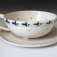 White Colander, Porcelain Fruit Bowl with Hand Painted Design
