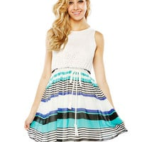 Lacy Stripe Belted Chiffon Dress