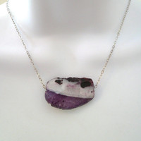CLEARANCE Purple/White Agate on Silver Chain