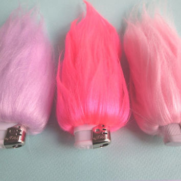 Super Cute Fairy Kei Kawaii 3 Lighter Cases Set, Pastel Pink, Lilac, Hot pink Fuzzy Bic Lighter Holder Cozy, Shaggy Faux Fur.