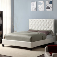 Home Creek Contemporary Platform Bed with Faux Leather Headboard