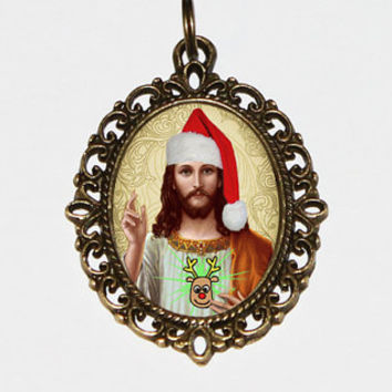 Santa Jesus Necklace, Santa Jewelry, Sacred Heart, Jesus Santa Hat, Christmas, Reindeer, Santa Necklace, Oval Pendant