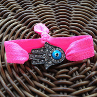 Rhinestone Gunmetal Hamsa Hand with Evil EyeElastic Hair Ties (and Bracelets)