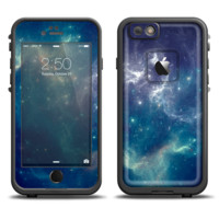 The Subtle Blue and Green Nebula Skin Set for the Apple iPhone 6 LifeProof Fre Case