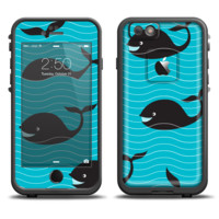 The Teal Smiling Black Whale Pattern Skin Set for the Apple iPhone 6 LifeProof Fre Case