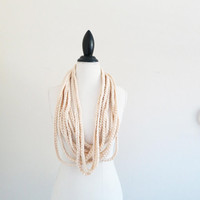 Infinity Crochet Scarf Ivory Cream Chunky Necklace Cowl