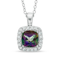 7.0mm Mystic Fire® Topaz and Lab-Created White Sapphire Frame Pendant in Sterling Silver