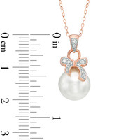 9.5mm Cultured Freshwater Pearl and Lab-Created White Sapphire Pendant in Sterling Silver with 18K Rose Gold Plate