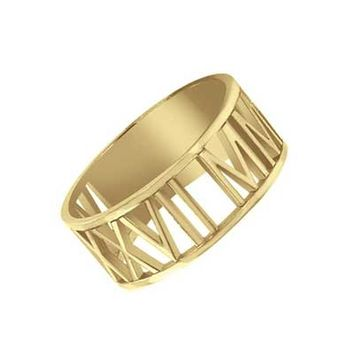 Roman Numeral Date Ring in Sterling Silver with 14K Gold Plate (4 Digits)