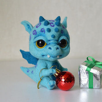 Needle felted little winter dragon Ice. Sweet blue monster. Cute creature. Collectible toy. Christmas gift.