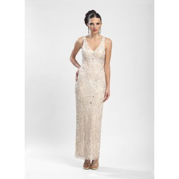 Sue Wong Champagne Embroidered Prom Dress - N3502