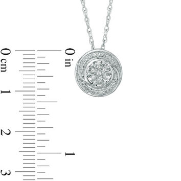 Diamond Accent Swirl Cluster Pendant in Sterling Silver