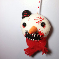 Zombie Snowman - Plush Christmas Ornament