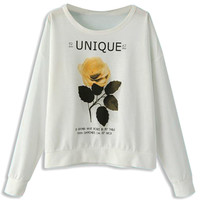 White Sweatshirt With Yellow Rose And Letter Print - Choies.com