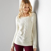 AEO Cable Beaded Sweater, Frozen Ivory | American Eagle Outfitters