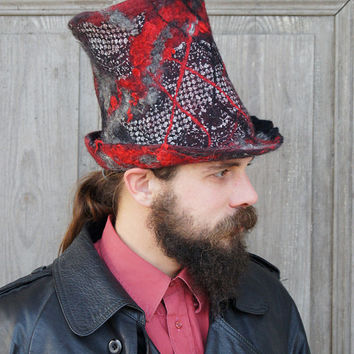 Unique fancy felted top hat, cylinder hat, high hat in black, gray and red . Unisex hat.OOAK