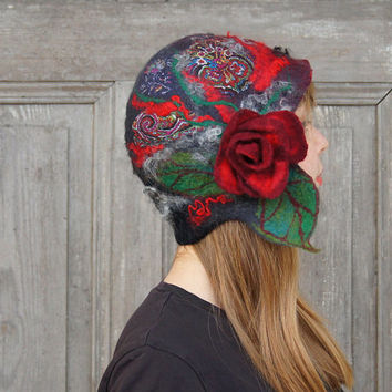 Unique felted cloche hat, retro style hat, black and red with dark red rose and green leaves. OOAK