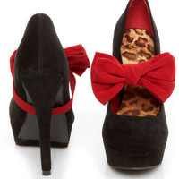 Promise Bachata Black Suede Bow-Strap Pumps - $39.00