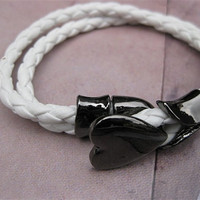 White Leather Woven with Metal Heart Buckle Women Leather Jewelry Bangle Cuff Bracelet  SL0097-W