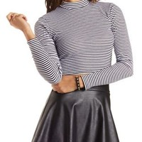 Striped Mock Neck Crop Top by Charlotte Russe - Black Combo