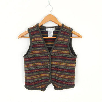 Vintage 90s Autumnal Striped Women's Sweater Vest - XS Wool Blend V-Neck Button Up Olive Red and Gold Knited Vest