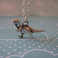 Super Cute Silver Dinosaur &quot;Joey Rex&quot; T-Rex Charm Necklace