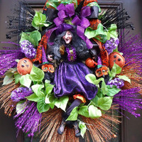 Halloween Wreath, Witch Wreath, Fall Door Wreath, Halloween Door Decor, Halloween Decoration, XXL