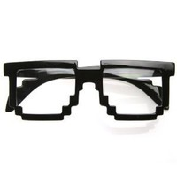 Pixelated 8-Bit Clear Lens Computer Nerd Geek Gamer Glasses (With Free Microfiber Pouch)
