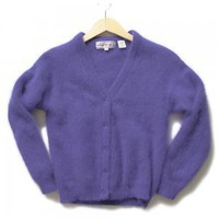 Dreamy Soft 70% Angora Fuzzy Furry Hairy Purple Pinup Cardigan Sweater Women's Size Small (S)