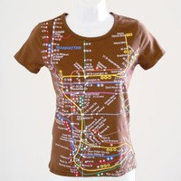 New York NYC Subway Line Tiny Fit T-Shirt TShirt Brown Women&#x27;s Size Medium (Fits Like XS/Small)
