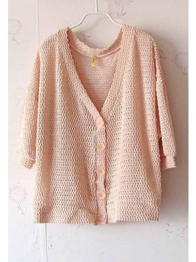 Women Autumn Cute Plain Coloured Loose Bat-wing Sleeve Casual Pink Cardigan One Size@II0165p $9.81 only in eFexcity.com.