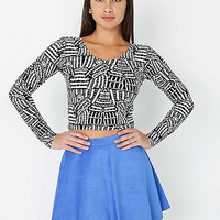 NeoMax Lined Monk Black and White Print Cotton Spandex Jersey Long Sleeve Crop Top