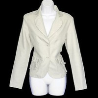 Coldwater Creek Linen Blend Tan Bow Pocket Fitted Jacket/Blazer Women&#x27;s Size Petite Small (PS)
