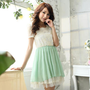 YESSTYLE: Tokyo Fashion- Lace-Panel Layered Chiffon Dress (Light Green - One Size) - Free International Shipping on orders over $150