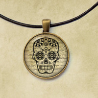 Tribal necklace Skull pendant Pagan jewelry