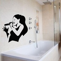 Wall Decor Vinyl Decal Sticker Interior Music Girl Singer with Microphone Kj249
