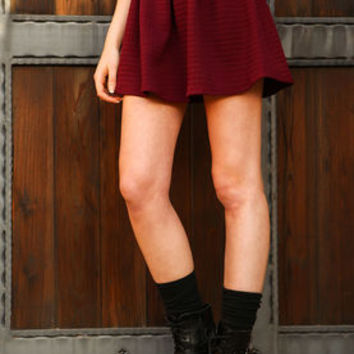 Burgundy Quilted Flare Pleated Skirt - LoveCulture