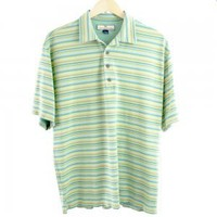 Tommy Bahama Silk Blend Green Stripe Polo Shirt Men's Size Large (L)
