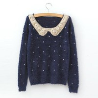 Navy Vintage Polka Dot Sequins Sweater - Designer Shoes|Bqueenshoes.com