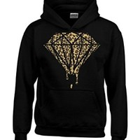 Bleeding Melting Dripping CHEETAH Diamond Hoodie Fashion Sweatshirts Medium Black