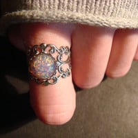 Fire Opal Antique Silver Filigree Ring- Adjustable (471)