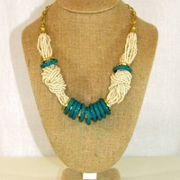 Teal Beaded Knot Necklace | Violet Clover