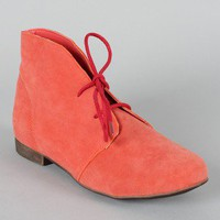 Breckelle Sandy-71 Lace Up Flat Ankle Bootie