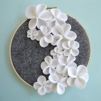 White Cascading Flower Wall Art by DashingEtc on Etsy